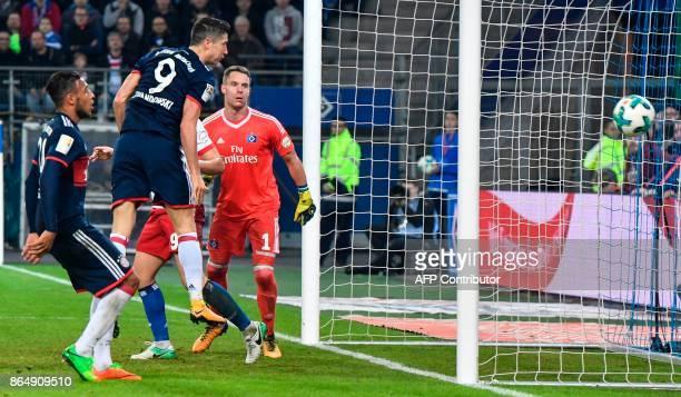 Bayern Munich's Polish forward Robert Lewandowski fails to score during the German first division Bundesliga football match between Hamburg SV and FC...