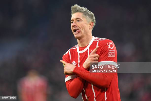 Bayern Munich's Polish striker Robert Lewandowski celebrates after the second goal for Munich during the German First division Bundesliga football...