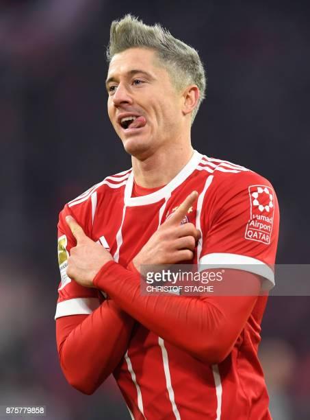 Bayern Munich's Polish striker Robert Lewandowski celebrates after the second goal for Munich during the German first division Bundesliga football...