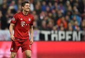 Bayern Munich's Polish striker Robert Lewandowski is pictured during the UEFA Champions League Group F secondleg football match between FC Bayern...