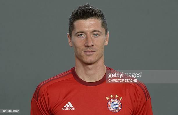 Bayern Munich's Polish striker Robert Lewandowski poses during the team presentation of the German first division Bundesliga team FC Bayern Munich at...