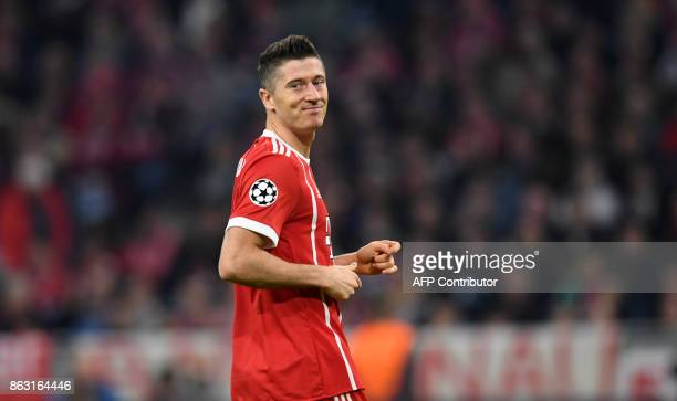Bayern Munich's Polish striker Robert Lewandowski reacts during the Champions League group B match between Bayern Munich and Celtic Glasgow in the...