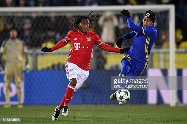 Bayern Munich's Portuguese midfielder Renato Sanches and Rostov's Ecuadorian midfielder Christian Noboa vie for the ball during the UEFA Champions...