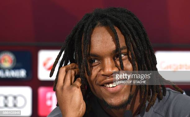 Bayern Munich's Portuguese midfielder Renato Sanches follows a press conference during a season team presentation of the German first division...