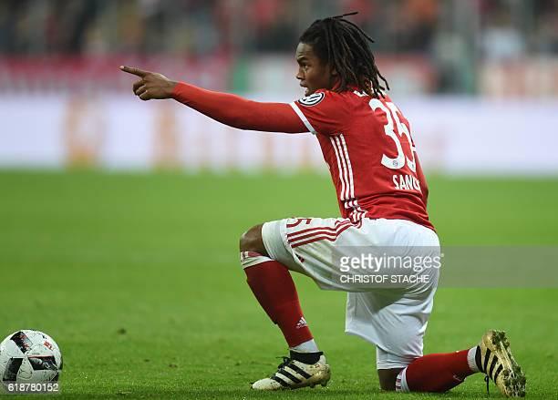 Bayern Munich's Portuguese midfielder Renato Sanches gestures during the German Cup DFB Pokal second round football match FC Bayern Munich v FC...