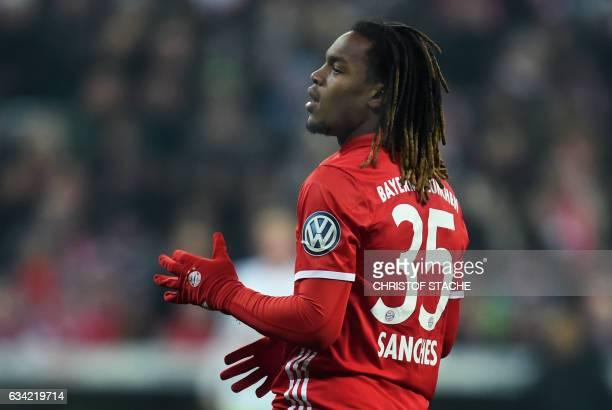 Bayern Munich's Portuguese midfielder Renato Sanches gestures during the German Cup DFB Pokal Round of 16 football match FC Bayern Munich v VFL...