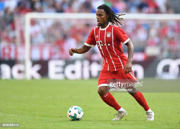 Bayern Munich's Portuguese midfielder Renato Sanches gestures during the third place Audi Cup football match between SSC Napoli and Bayern Munich in...