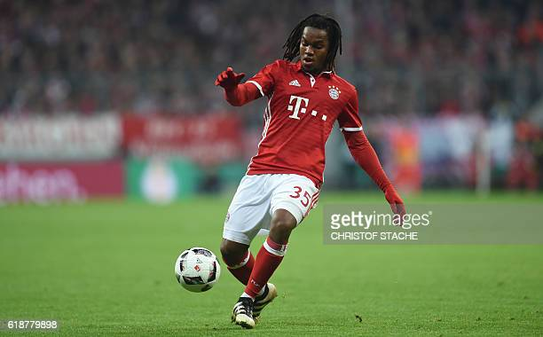 Bayern Munich's Portuguese midfielder Renato Sanches plays the ball during the German Cup DFB Pokal second round football match FC Bayern Munich v FC...