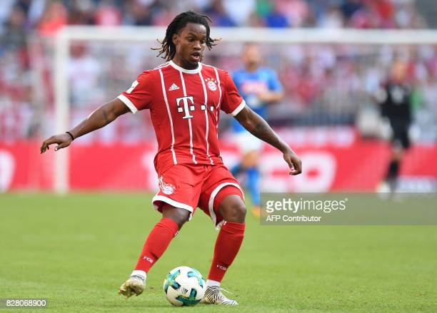 Bayern Munich's Portuguese midfielder Renato Sanches plays the ball during the third place Audi Cup football match between SSC Napoli and Bayern...
