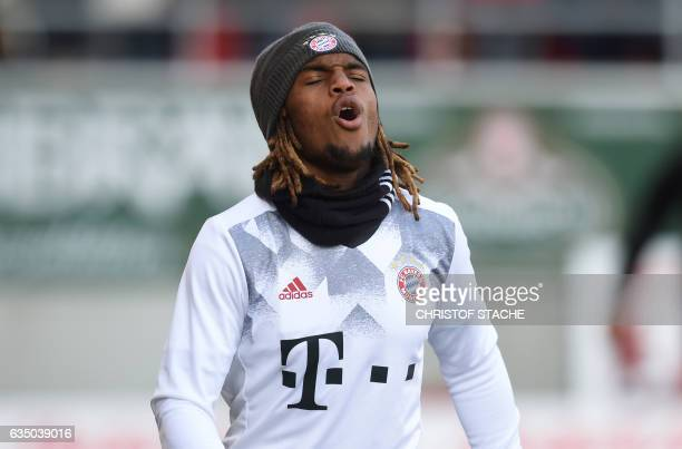 Bayern Munich's Portuguese midfielder Renato Sanches warms up prior the German First division Bundesliga football match between FC Ingolstadt 04 and...