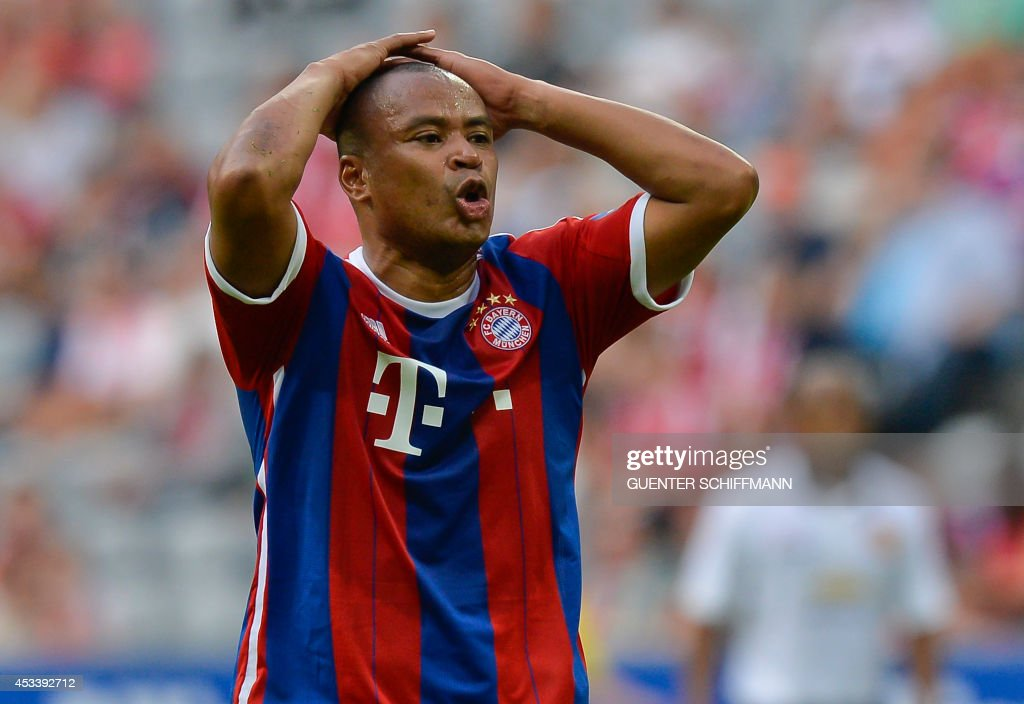 Bayern Munich's retired Brazilian striker Paulo Sergio reacts during an AllStar game of the FC Bayern AllStars vs the Manchester United Legends at...