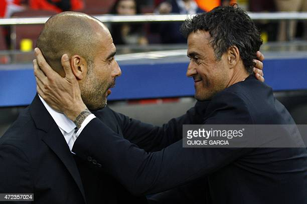 Bayern Munich's Spanish head coach Pep Guardiola and Barcelona's coach Luis Enrique greet each other before the UEFA Champions League football match...