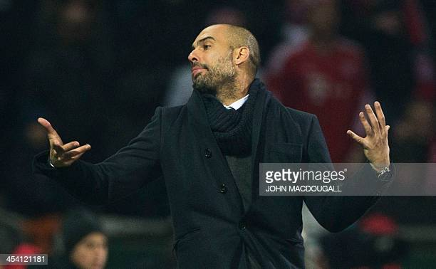 Bayern Munich's Spanish head coach Pep Guardiola reacts during the German first division Bundesliga football match between SV Werder Bremen and FC...