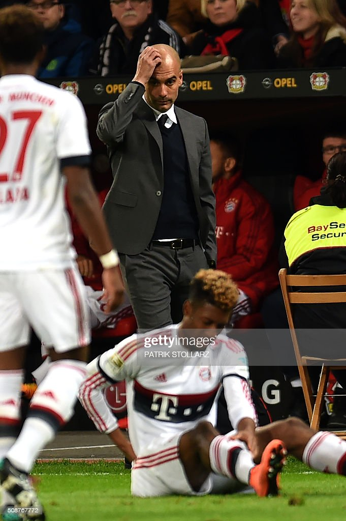 Bayern Munich's Spanish head coach Pep Guardiola reacts during the German first division Bundesliga football match of Bayer 04 Leverkusen v Bayern Munich in Leverkusen, western Germany, on February 6, 2016. / AFP / PATRIK STOLLARZ /
