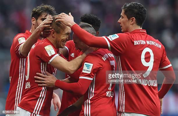 Bayern Munich's Spanish midfielder Javi Martinez Bayern Munich's Dutch midfielder Arjen Robben Bayern Munich's French midfielder Franck Ribery Bayern...