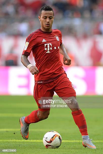 Bayern Munich's Spanish midfielder Thiago Alcantara plays the ball during the German first division Bundesliga football match FC Bayern Munich v FC...