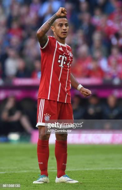 Bayern Munich's Spanish midfielder Thiago Alcantara reacts during the German First division Bundesliga football match FC Bayern Munich vs SC Freiburg...