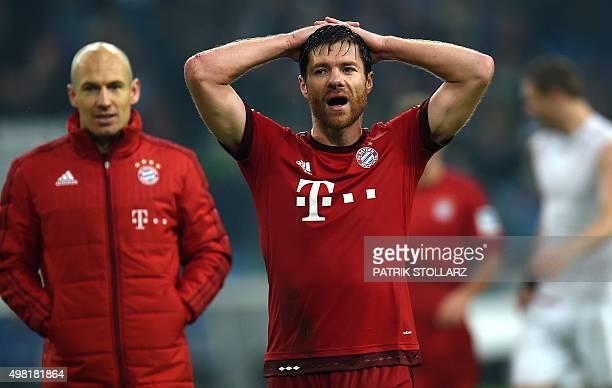 Bayern Munich's Spanish midfielder Xabi Alonso reacts after the German first division Bundesliga football match FC Schalke 04 vs FC Bayern Munich in...