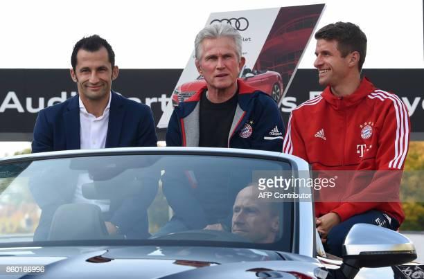 Bayern Munich's sports director Hasan Salihamidzic new Bayern Munich's headcoach Jupp Heynckes and Bayern Munich's striker Thomas Mueller arrive for...