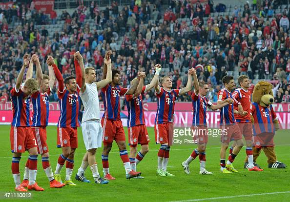 Bayern Team celebrates the home victory with the fans during the game FC Bayern Muenchen against Hertha BSC on april 25 2015 in Muenchen Germany
