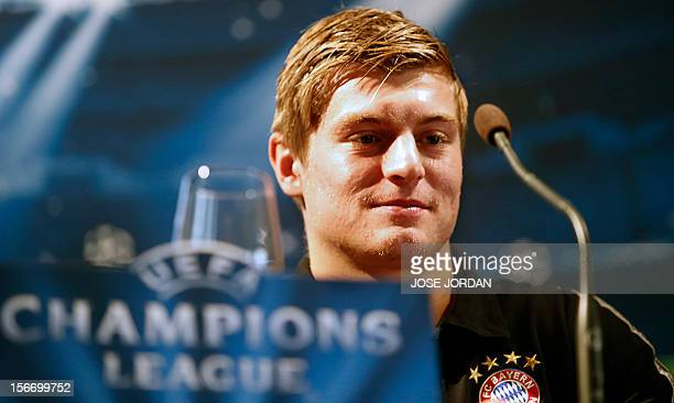 Bayern's German midfielder Toni Kroos gives a press conference at the Westing Hotel in Valencia on November 19 on the eve of the UEFA Champions...