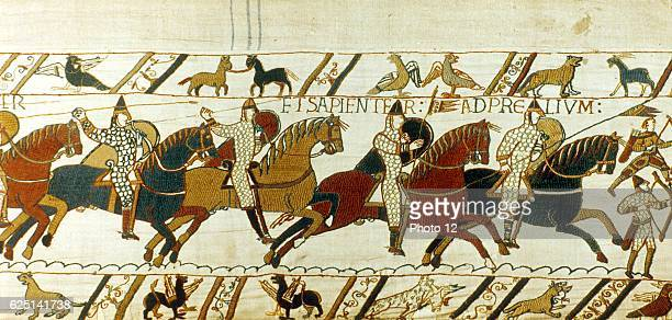 Bayeux Tapestry Battle of Hastings 14 October 1066 Norman cavalry charging William I the Conqueror defeated Harold II last AngloSaxon king of England