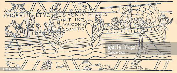 Harold sailing from Bosham to Ponthieu 1064 19th century illustration H Harold II also known as Harold Godwinson last AngloSaxon king of England c...
