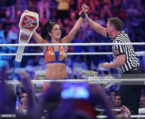Bayley celebrates her win during WrestleMania 33 on Sunday April 2 2017 at Camping World Stadium in Orlando Fla