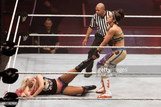 Bayley fights against Alexa Bliss during WWE Live 2017 at Zenith Arena on May 9 2017 in Lille France