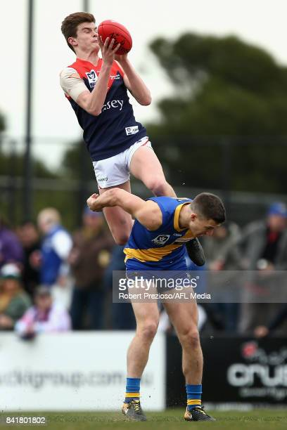 Bayley Fritsch of the Casey Demons marks during the VFL Qualifying Final match between Williamstown and Casey at Burbank Oval on September 2 2017 in...
