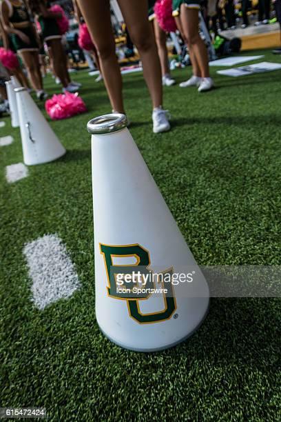 Baylor Bears cheerleaders megaphone during the game between the Baylor Bears and the Kansas Jayhawks at McLane Stadium in Waco Texas Baylor beats...