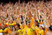 Baylor Bears fans cheer on their team against the TCU Horned Frogs in the second half at McLane Stadium on October 11 2014 in Waco Texas