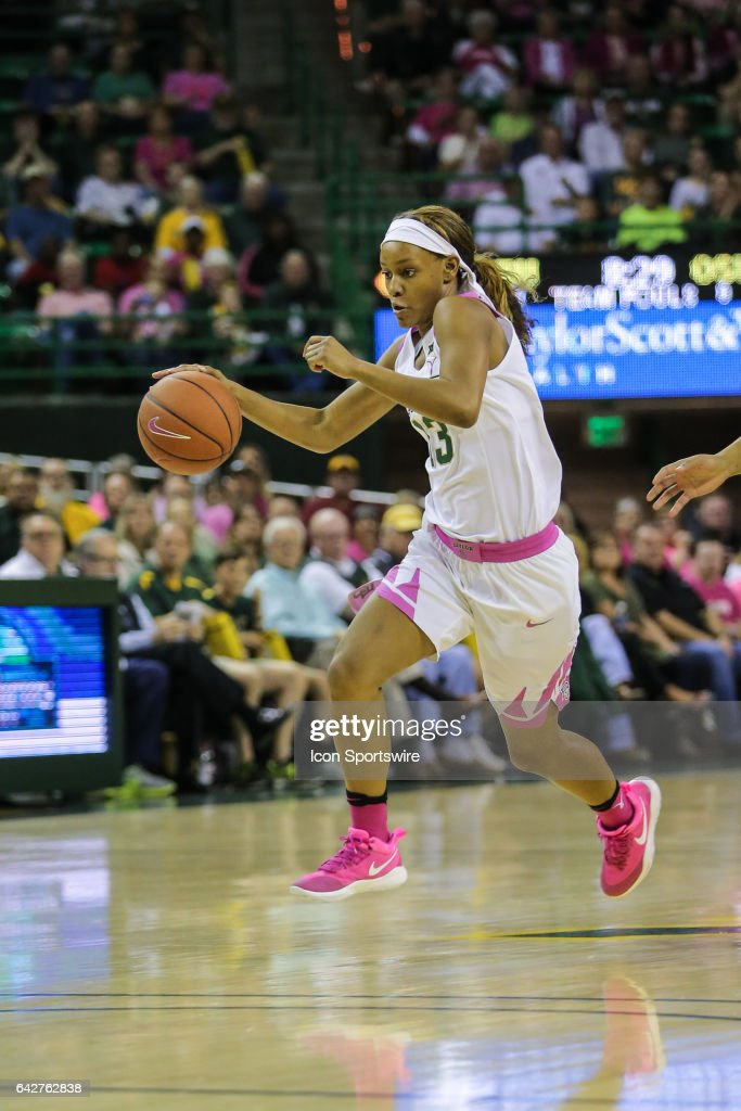 Baylor Bears forward Nina Davis (13) drives to the basket during the women's basketball game between Baylor and Oklahoma State on February 18, 2017, at the Ferrell Center in Waco, TX.