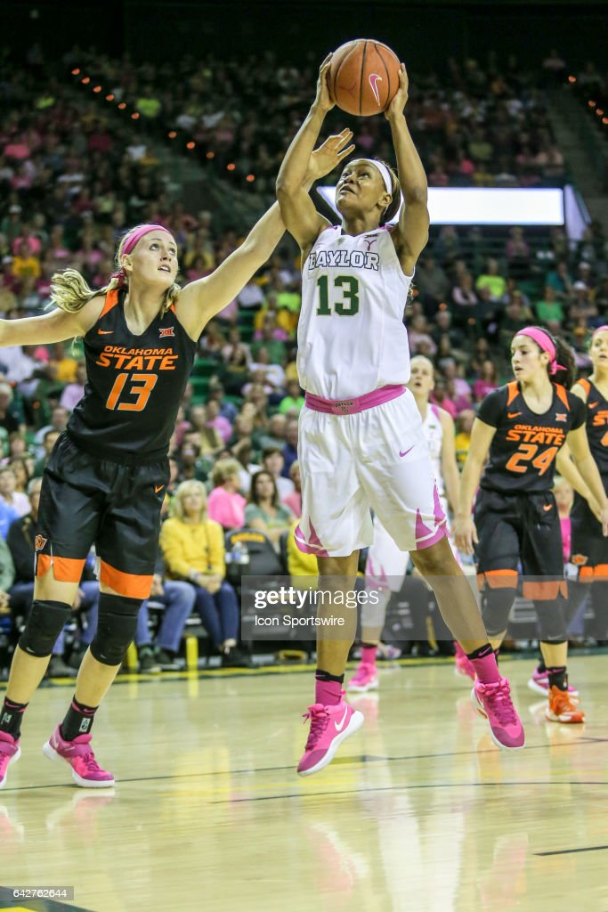 Baylor Bears forward Nina Davis (13) goes to the basket during the women's basketball game between Baylor and Oklahoma State on February 18, 2017, at the Ferrell Center in Waco, TX.