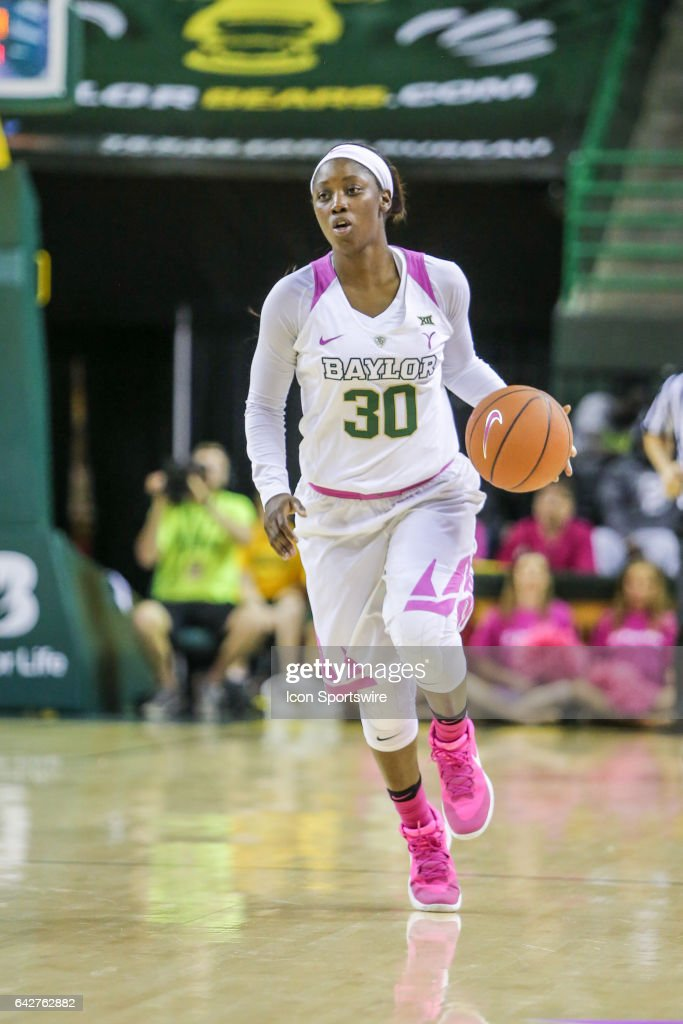 Baylor Bears guard Alexis Jones (30) brings the ball up court during the women's basketball game between Baylor and Oklahoma State on February 18, 2017, at the Ferrell Center in Waco, TX.