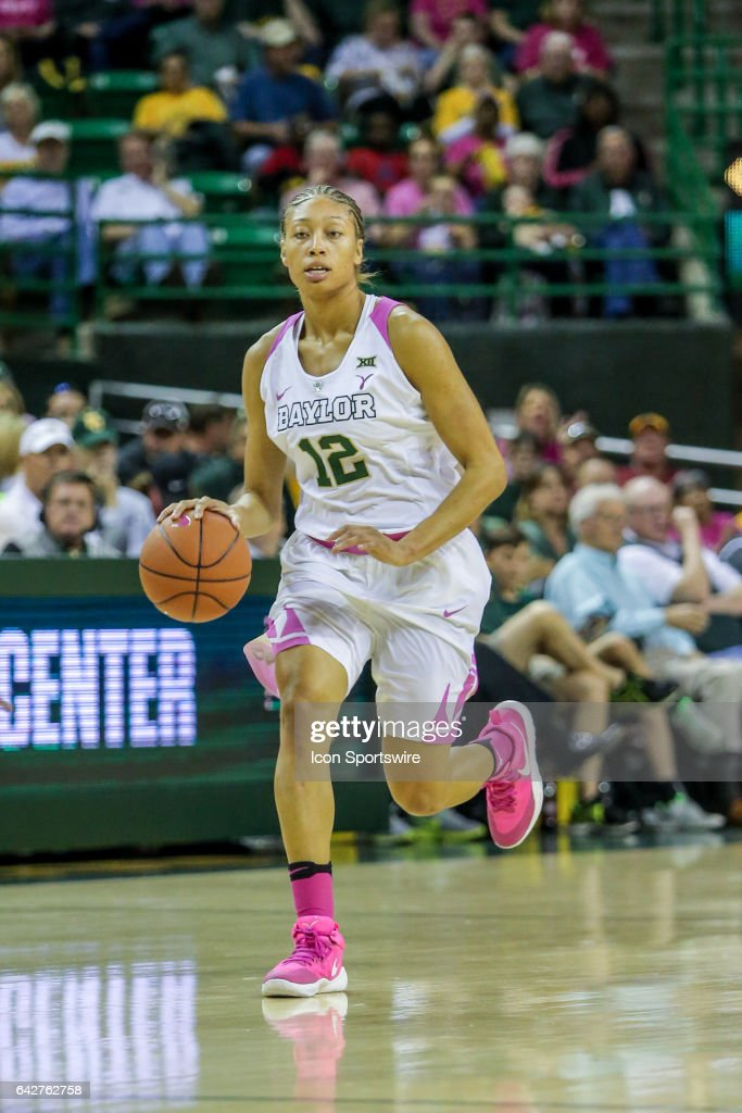 Baylor Bears guard Alexis Prince (12) brings the ball up court during the women's basketball game between Baylor and Oklahoma State on February 18, 2017, at the Ferrell Center in Waco, TX.