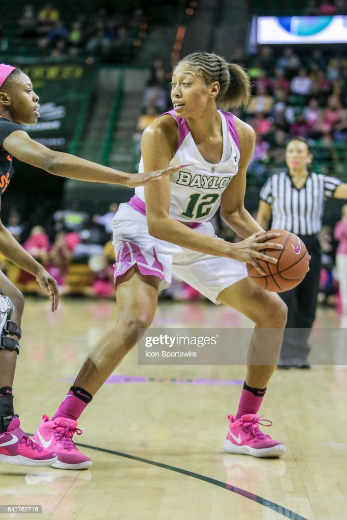 Baylor Bears guard Alexis Prince (12) fights for position during the women's basketball game between Baylor and Oklahoma State on February 18, 2017, at the Ferrell Center in Waco, TX.