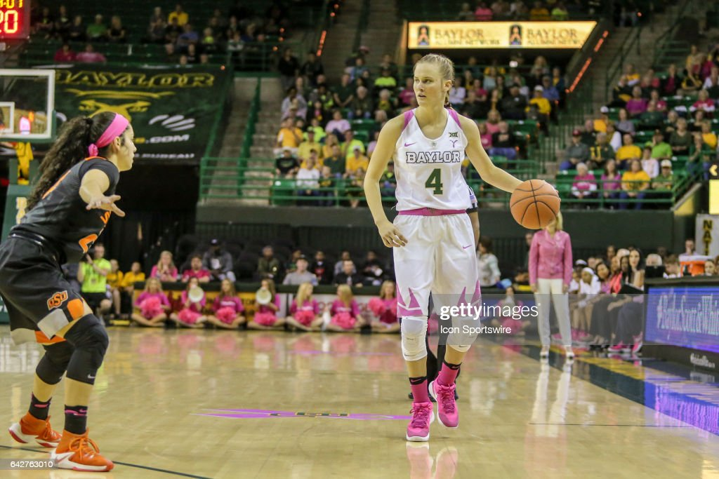 Baylor Bears guard Kristy Wallace (4) brings the ball up court during the women's basketball game between Baylor and Oklahoma State on February 18, 2017, at the Ferrell Center in Waco, TX.