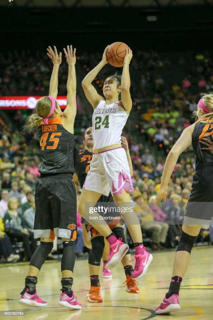 Baylor Bears guard Natalie Chou (24) goes to the basket during the women's basketball game between Baylor and Oklahoma State on February 18, 2017, at the Ferrell Center in Waco, TX.