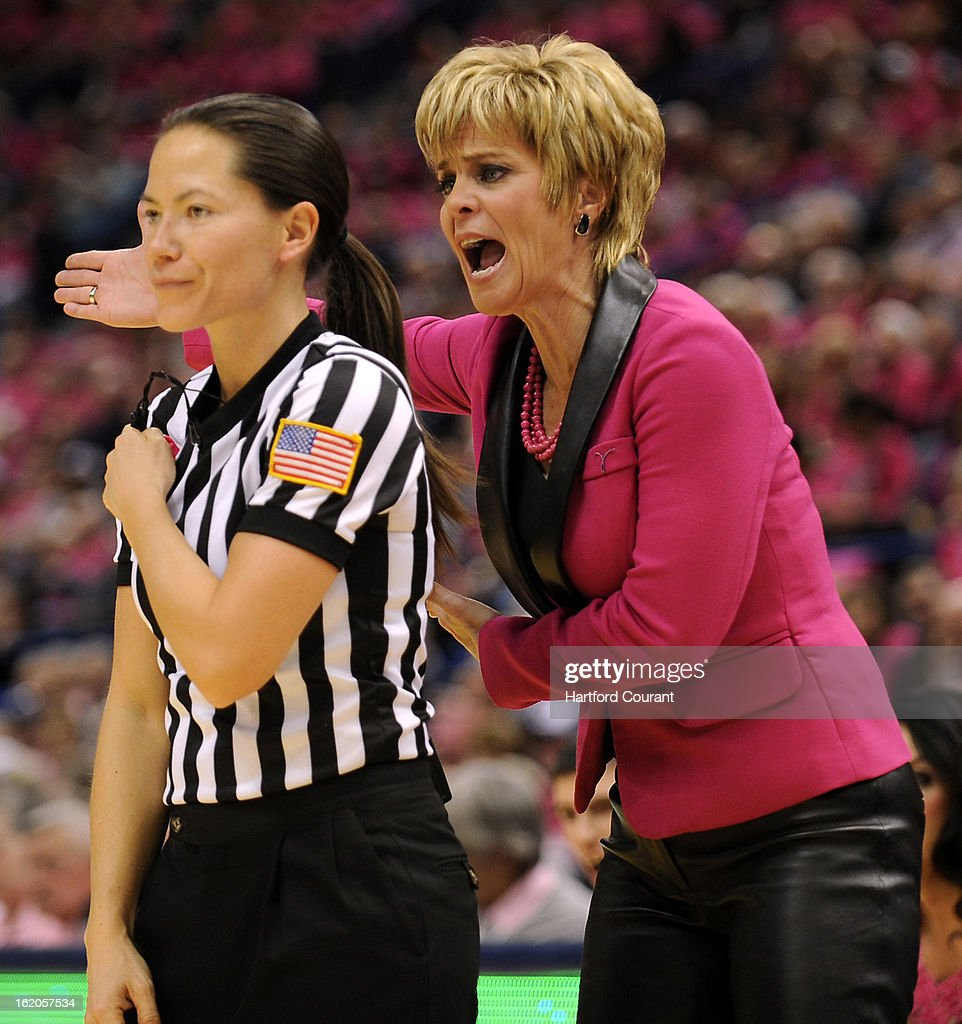 Baylor Bears head coach Kim Mulkey gives referee Maj Forsberg a piece of her mind during the first half against the Connecticut Huskies at the XL Center in Hartford, Connecticut, Monday, February 18, 2013. Baylor defeated UConn, 76-70.