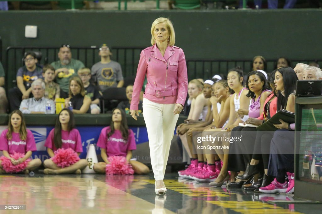 Baylor Bears head coach Kim Mulkey looks on during the women's basketball game between Baylor and Oklahoma State on February 18, 2017, at the Ferrell Center in Waco, TX.