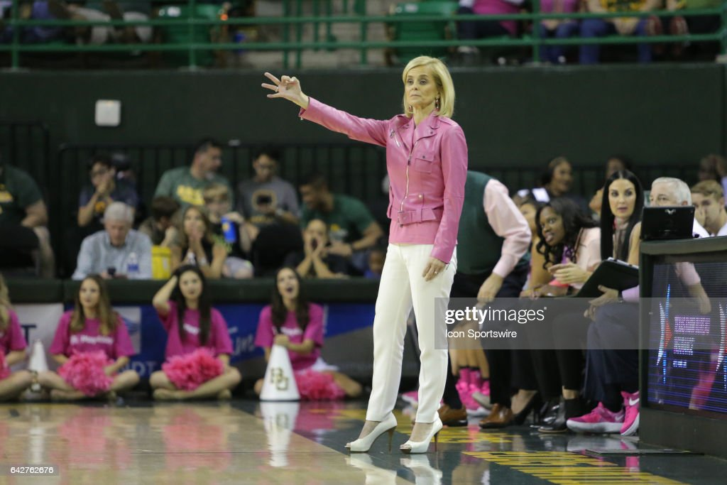Baylor Bears head coach Kim Mulkey signals her team during the women's basketball game between Baylor and Oklahoma State on February 18, 2017, at the Ferrell Center in Waco, TX.
