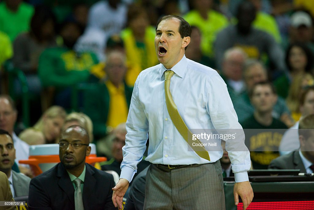 Baylor Bears head coach Scott Drew looks on against the West Virginia Mountaineers on March 5 2016 at the Ferrell Center in Waco Texas