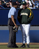 Baylor Bears head coach Steve Smith discusses a call by the home plate umpire Rich Padilla as the Bears defeated the Long Beach State Dirtbags 5 to 3...
