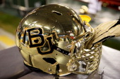 Baylor Bears helmet is displayed during the Tostitos Fiesta Bowl against the UCF Knights at University of Phoenix Stadium on January 1 2014 in...