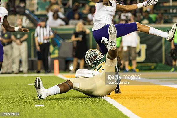 Baylor Bears running back Terence Williams fails into the endzone but has the ball placed back at the two yard line during the game between the...