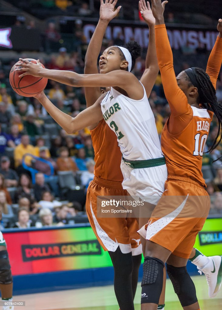 Baylor (2) Didi Richards going up for two points versus Texas University during the Big 12 Women's Championship on March 05, 2018 at Chesapeake Energy Arena in Oklahoma City, OK.