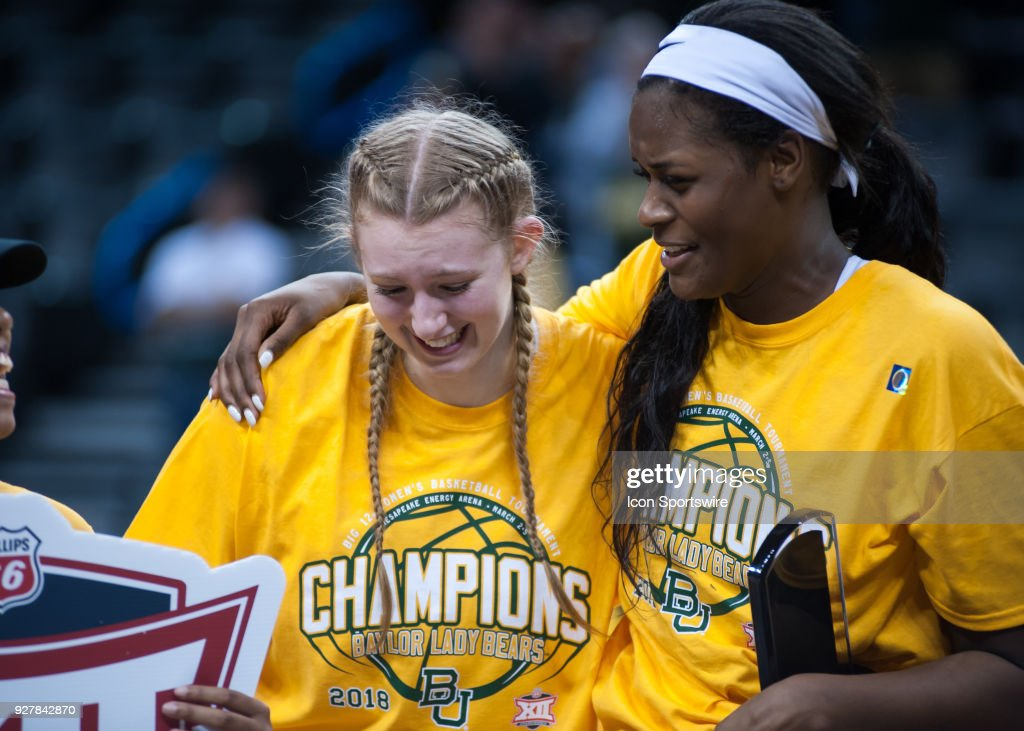 Baylor (21) Kalani Brown and Baylor (15) Lauren Cox celebrating the win versus Texas during the Big 12 Women's Championship on March 05, 2018 at Chesapeake Energy Arena in Oklahoma City, OK.