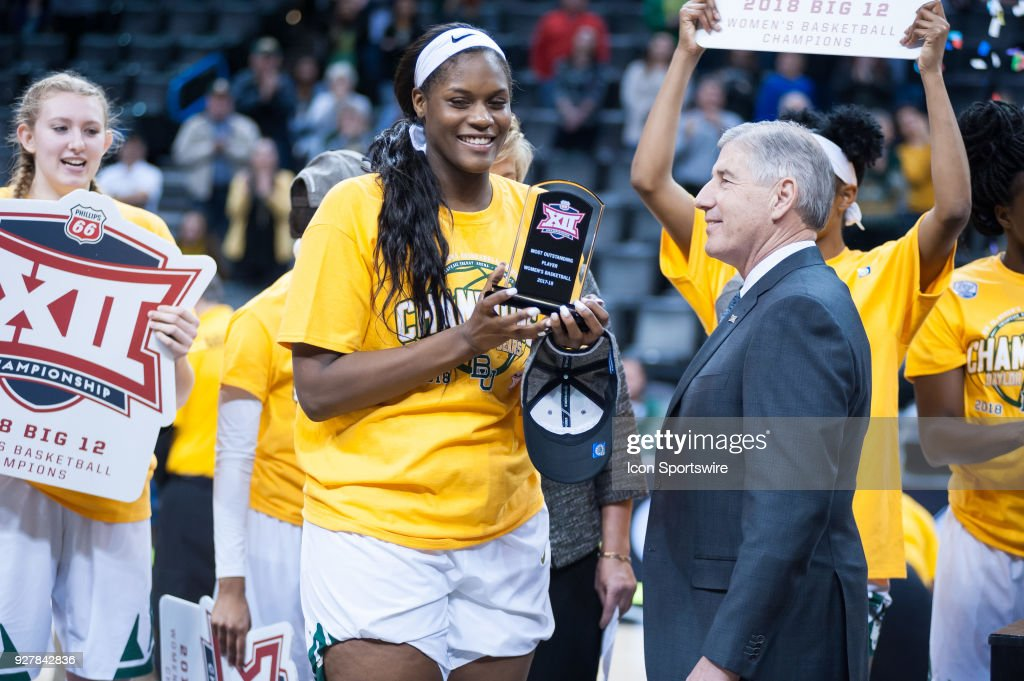 Baylor (21) Kalani Brown receiving the Big 12 Most Valuable Player award from the Texas vs Baylor game during the Big 12 Women's Championship on March 05, 2018 at Chesapeake Energy Arena in Oklahoma City, OK.