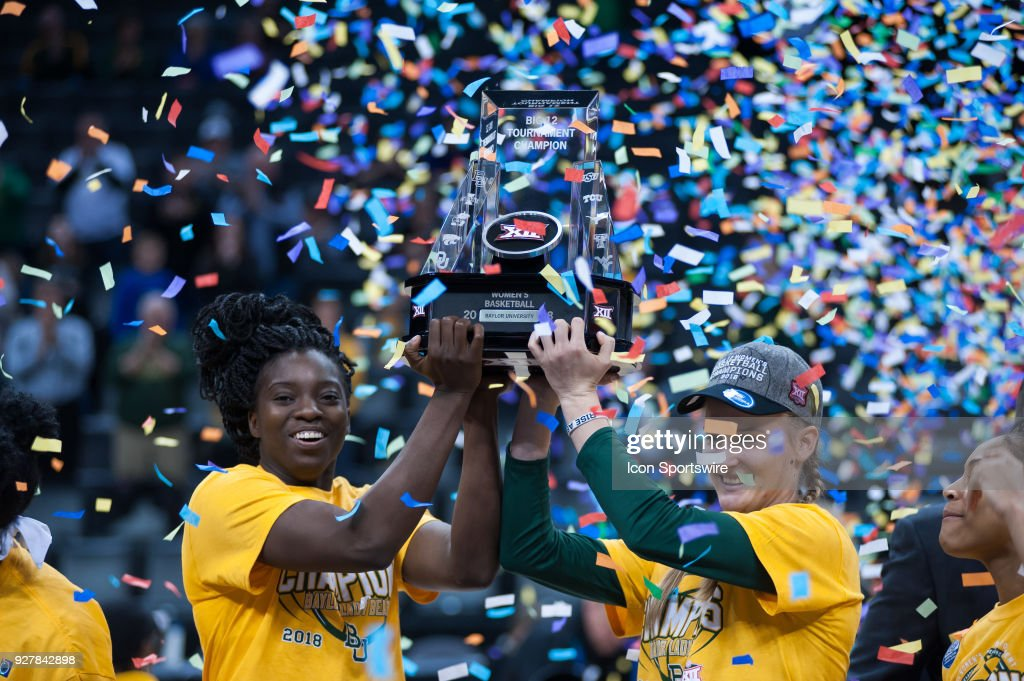 Baylor players celebrating the win versus Texas holding the Big 12 trophy during the Big 12 Women's Championship on March 05, 2018 at Chesapeake Energy Arena in Oklahoma City, OK.